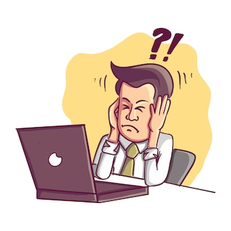 失敗して強調した実業家はコンピューターで作業するのに疲れています