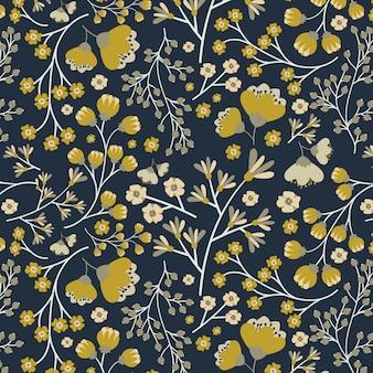 Бесшовный желтый цветочный узор