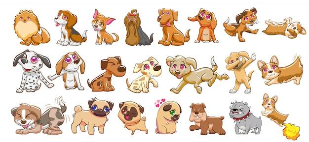 Собака векторный набор клипартов