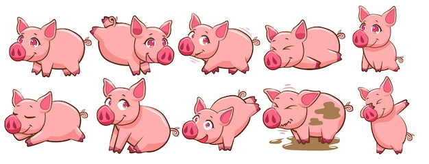 Свинья векторный набор клипартов