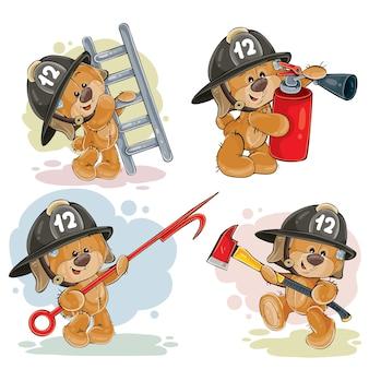 テディベアのセットは、漫画のキャラクターを消防隊員