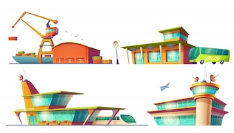 バス、鉄道駅、空港、海港