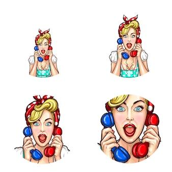 女の子はゴシップを電話で話す