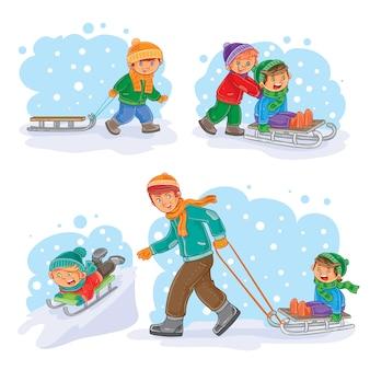 小さな子供たちと一緒に冬のアイコンを設定する