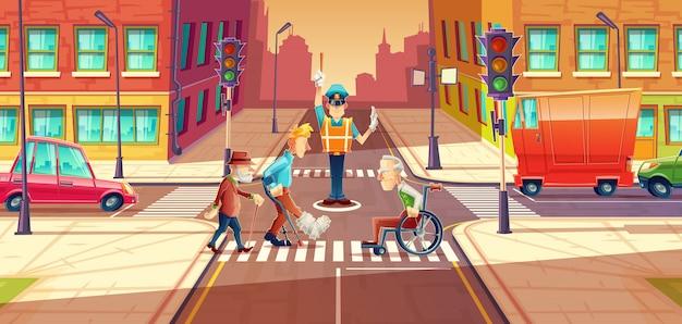 Перекрестный охранник, регулирующий движение транспорта, городские перекрестки с пешеходами