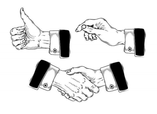 Набор значков мужских рук, делающих разные жесты