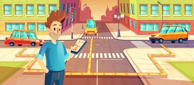 Обмен автомобилями, человек с мобильным телефоном с мобильным приложением