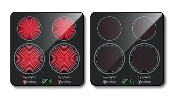 Черная индукционная варочная панель или стеклокерамическая плита для приготовления пищи