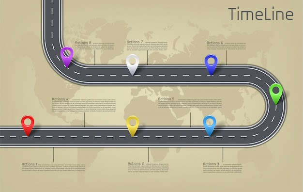 世界地図のマイルストーンに関する会社の自動車道、タイムラインビジネスプレゼンテーションのレイアウト