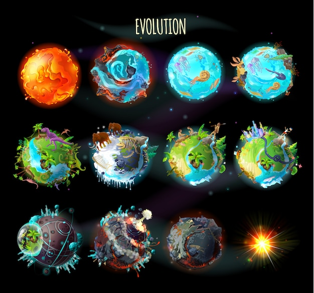 地球上の生命の起源、進化、気候変動の段階