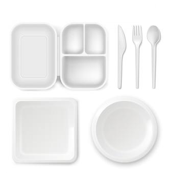 使い捨てプラスチック食器用プレートとカトラリー