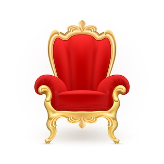 Королевский трон, роскошный красный стул с резными золотыми ногами, изолированных на фоне.
