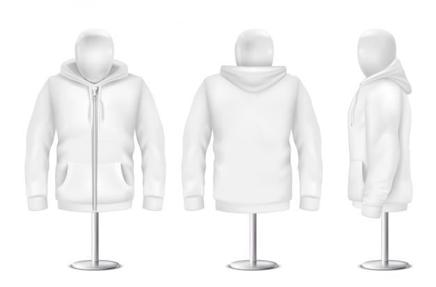 現実的な白いパーカ、フロント、バック、サイドウォールのスエットシャツ