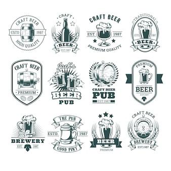 Коллекция эмблем ретро-пива, значков, наклеек