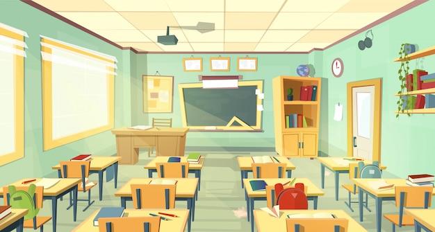 学校の教室のインテリア。大学、教育コンセプト、黒板、テーブル