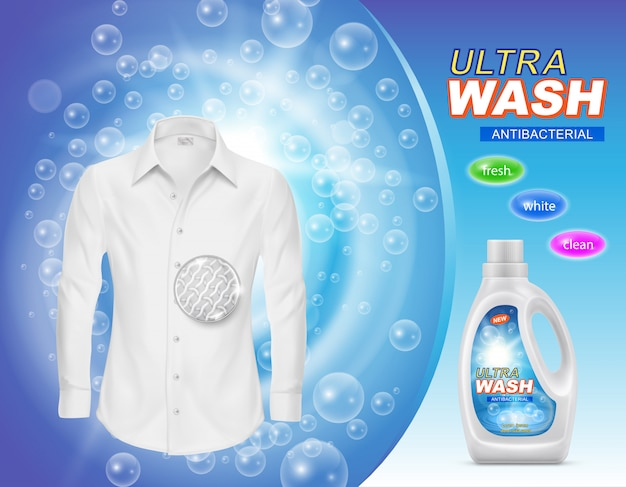 Рекламный баннер жидкого моющего средства для стирки или пятновыводителя в пластиковой бутылке