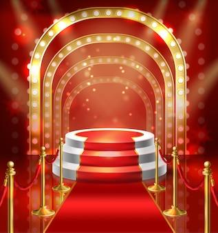 赤いカーペットでショーのためのイラストの表彰台。スタンドアップのためのランプ照明付きステージ