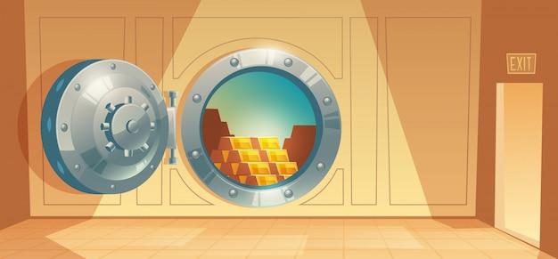 銀行の金庫、金属鉄の安全な扉の漫画のイラスト。