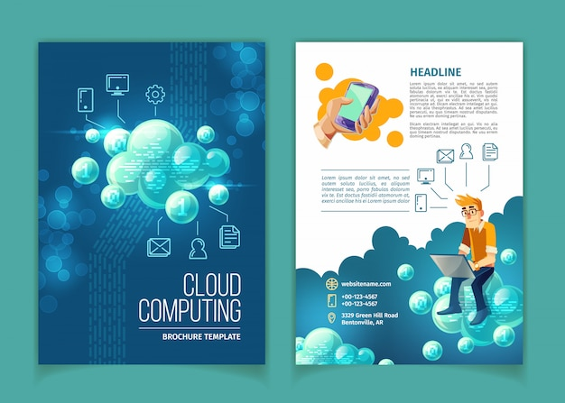 クラウドコンピューティング、グローバルデータストレージ、現代のインターネットテクノロジーベクトルの概念図。