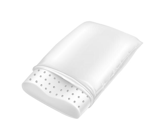 天然ラテックスからの現実的な整形外科用枕。白い四角の居心地の良いクッション。