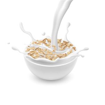 ミルクとスプラッシュを注ぐ白と、オートムフレークまたはミューズリーと現実的なセラミックボウル