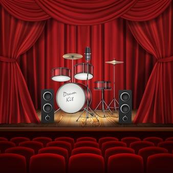 空のステージにドラムキットを持つ背景
