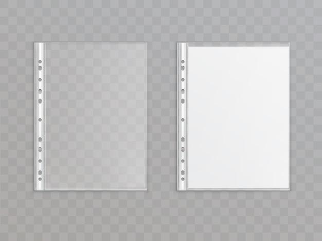 透明な背景に隔離された現実的な半透明のパンチポケット。