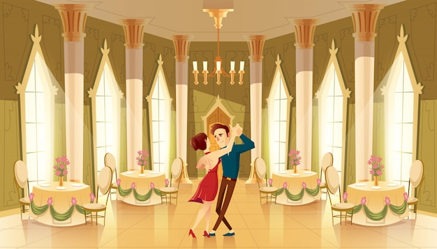 ダンサーのあるホール、ボールルームのインテリア。シャンデリアの大きな部屋、王室のレセプションの列