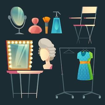 漫画の女優、俳優のドレッシングルーム。家具、衣類、ハンガー付きのコレクション