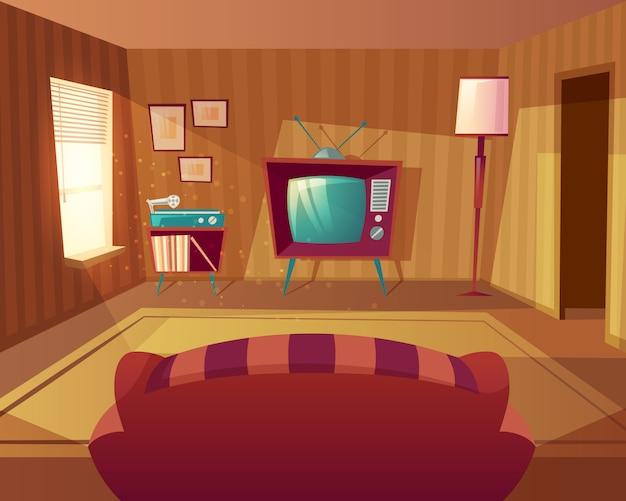 漫画のリビングルームのイラスト。ソファからテレビ、ビニールプレイヤーまでの正面図。