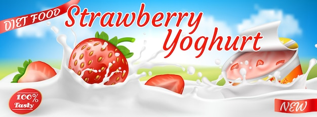 Реалистичный красочный баннер для рекламы йогурта. красная клубника в брызгах белого молока
