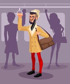 Векторная иллюстрация парень в общественном транспорте