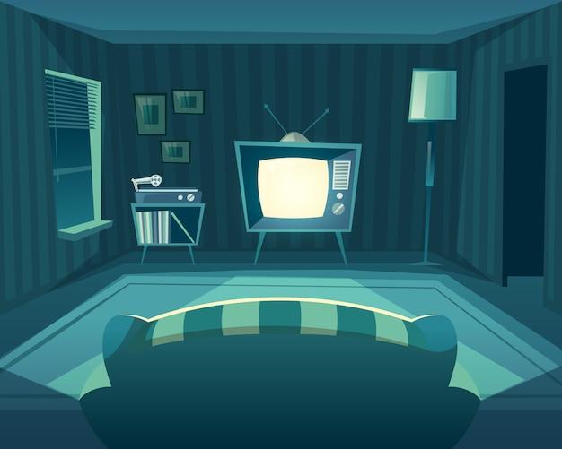 夜の漫画のリビングルーム。ソファからテレビ、ビニールプレイヤーまでの正面図。