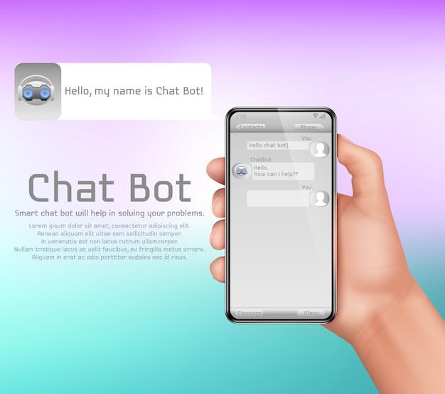 人工知能、オンラインチャットボットのコンセプト背景。スマートフォンを持っている人間の手