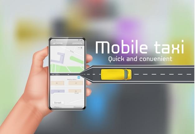 モバイルタクシーのコンセプト背景。都市の地図とスマートフォンを持つ人間の手
