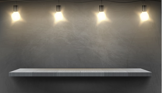 Реалистичный фон с пустой деревянной полкой, освещенной электрическими лампочками