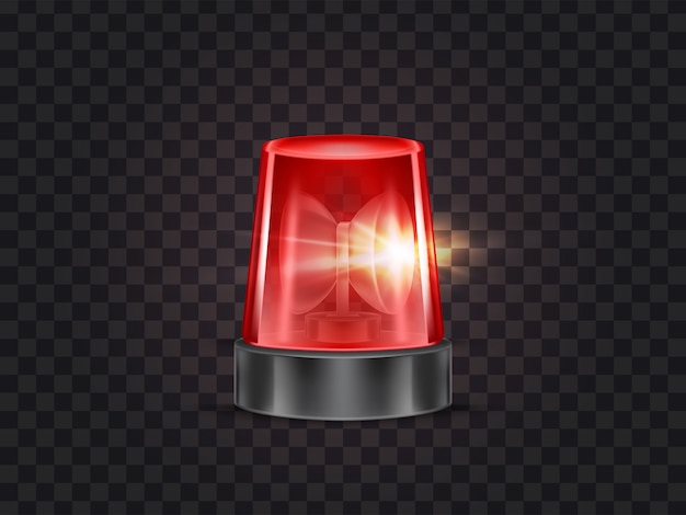 警察や救急車のためのサイレンと赤いフラッシャー、点滅ビーコンのイラスト