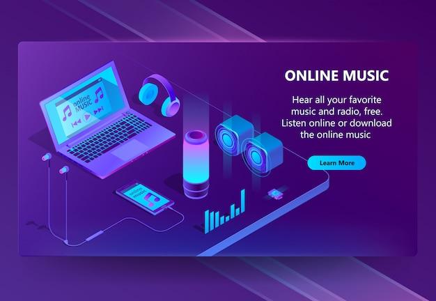 Изометрический концептуальный фон онлайн-музыки