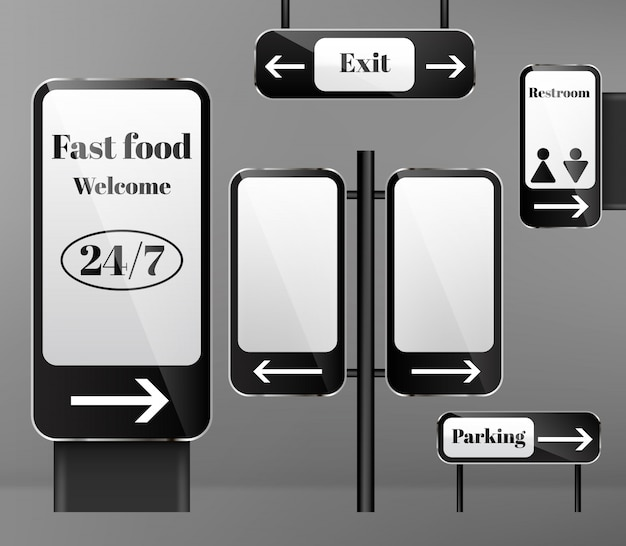金属の柱の通りの看板のセット、背景に矢印が付いている方向の標識。
