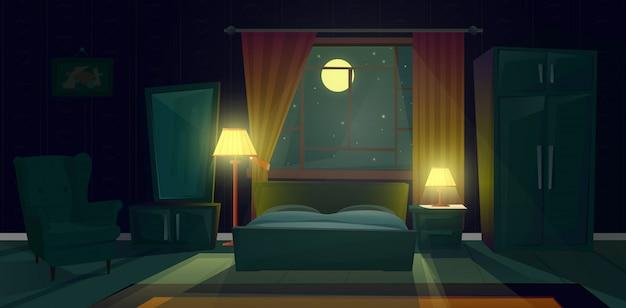 夜の居心地の良いベッドルームの漫画のイラスト。ダブルベッド付きのリビングルームのモダンなインテリア