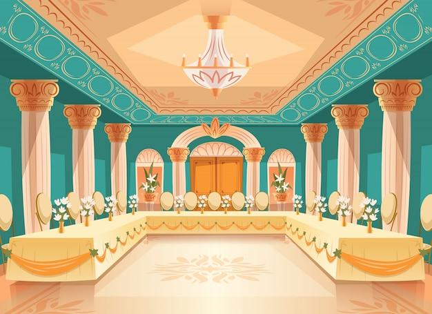 宴会、結婚式のためのベクトルホール。テーブル付きのボールルームのインテリア、ごちそう用の椅子、お祝いまたは