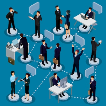 Набор изометрических людей в деловых костюмах в офисе.