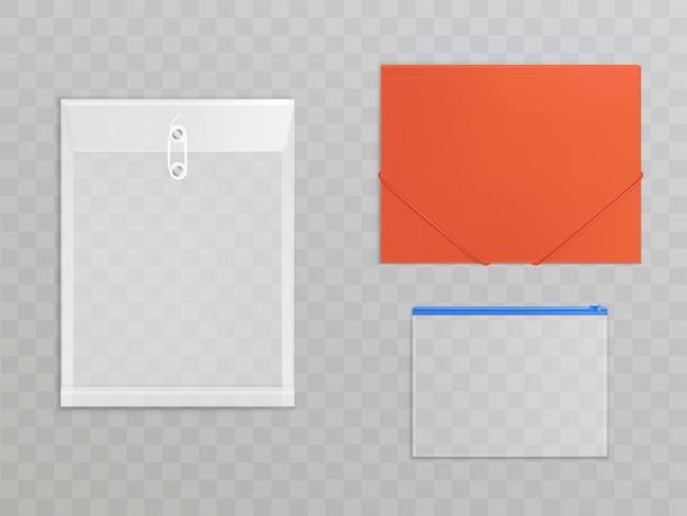 透明なプラスチックファイル - 事務用品のセット。ジッパー付きセロファンフォルダ