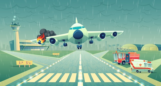 Посадку самолета на полосу возле терминала. сбой полета в плохую погоду, крыло