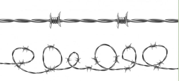 有刺鉄線のイラスト、ねじれたバーブ線のある水平シームレスの模様