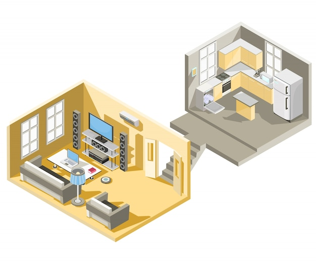 Векторный изометрический дизайн гостиной и кухни