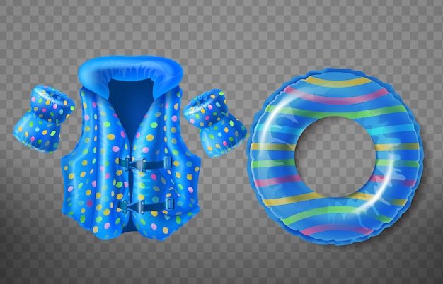 子供のための青いゴム製のリング、ライフジャケット、インフレータブル武具で設定