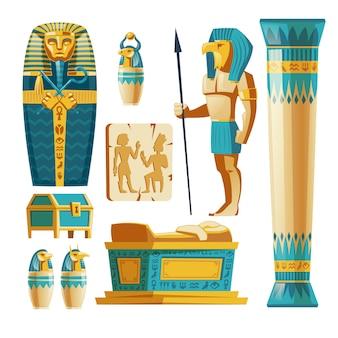 背景に隔離された古代エジプトのオブジェクトの漫画のセット。