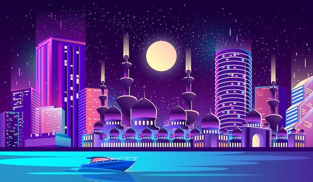 イスラム教徒のモスクと夜市の背景