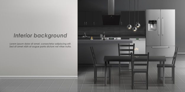 家電とキッチンルームのインテリアのモックアップ